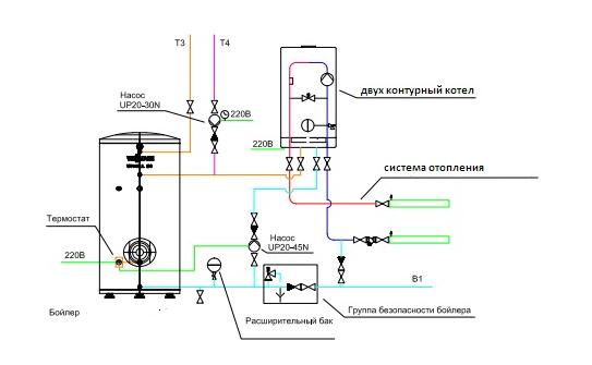 вариант подключение двухконтурного котла к бойлеру косвенного нагрева